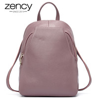 zency سحر المرأة حقيبة 100٪ جلد طبيعي مكافحة سرقة زر أنيقة حقائب السفر أنثى حقيبة مدرسية لفتاة عطلة حقيبة