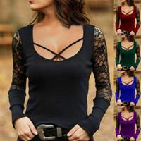 2020 جديد المرأة مصمم الزى طويل الأكمام ربيع الخريف الدانتيل بألواح تيز الأزياء عارضة قمم المرأة الملابس