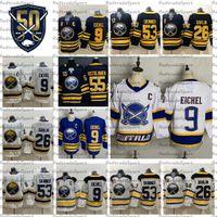 2021 Reverse Retro Buffalo Sabers 9 Jack Eichel 26 Rasmus Dahlin 53 Jeff Skinner Hockey Jersey Gold 55 Rasmus Ristolainen 50th 셔츠