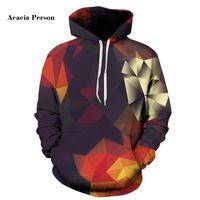 Akazien Person Männer / Frauen Hoodies mit Hutdruck Farbblöcke Herbst Winter Thin 3D Sweatshirts Kapuzenshaube Tops