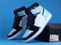 Os melhores sapatos de basquete Jumpman 1 Retro High Unc Patent CD0461-401 Obsidian Blue Men Sapatos Chaussures de Designer Calçado Esportivo