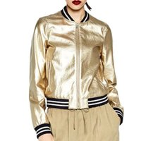 Novo Metal Texturizado Mulheres Baseball Tops de prata dourado brilhante PU falso Bomber Leather Jacket Windbreaker Casacos Leren Jas Dames 201013