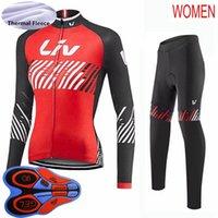 2021 Pro Team Liv Women Велоспорт Тепловой флис Джерси Костюм Зимний Велоспорт Одежда Установлен Женская Велосипедная Рубашка и Байк Брюки Комплекты Y21020107