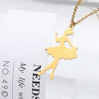 Collana pendente Icftzwe Collana in acciaio inox Figura Bambini Ragazza Donna Angelo Balletto Pendente Collana in oro gioielli color oro