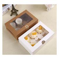 Cartolina Kraft Carta Cupcake Box 6 tazza di cake detentori di torta muffin scatole per dolci da dessert scatola pacchetto portatile sei jllboq xmhyard