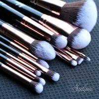 Sylyne makeup brushes 12pcs brush set professional synthetic Hair rose gold foundation contour make up brushes. 201008