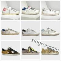 إيطاليا سلال ديلوكس العلامة التجارية الذهبي رياضة الترتر الكلاسيكي الأبيض تفعل أحذية قذرة القديمة أوزة مصمم نجم رجل عارضة الأحذية