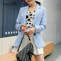 Luckbn Frauen Blazer Single Breasted Long Sleeve Blazer Büro Dame Formale Blazer Mode Herbst Jacken Schlank Weibliche Lose Mantel1