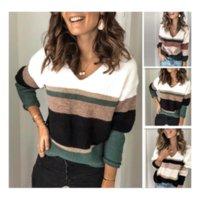 Mujeres otoño e invierno casual mangas largas jerseys comodidad impresión a rayas suéteres sexy v cuello tejer puentes
