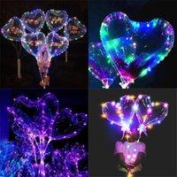 Светодиодный светодиодный воздушный шар 2021 день Святого Валентина любовь влюбленные сердца шарики освещение воздушный шар освещает бобо шарик для свадебного вечеринка декор H11902