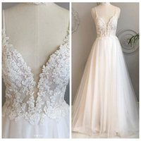 A Line Spaghetti Straps Beach Wedding Dresses Appliques Lace...