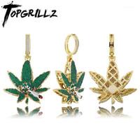 Кулон ожерелья Topgrillz Green Out Cubic Zirconia Bling CZ Charm Hip-хоп мода ювелирные изделия1