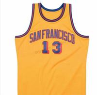 Barato Retro Custom # 13 Sanfrancisco Wilt Chamberlain Escuela de Baloncesto los hombres del jersey amarillo Todo cosido cualquier tamaño 2XS-4XL 5XL Nombre Número de O