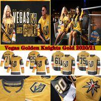 Goldene Ritter von Vegas 2020-2021 Gold Drittel Jersey 29 Marc-Andre Fleury 61 Mark Stone 71 William Karlsson 67 Max Pacioretty Hockey Trikots
