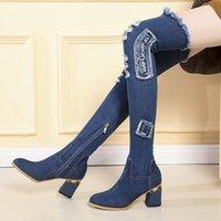 Damen Denim Stiefel über dem Knie spitz, dicke High Heels Schuhe Frau Casual Quaste ausschneiden Jeans Long Botas Mujer8961