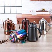 커피 냄비 스테인레스 스틸 장착 브래킷 핸드 펀치 냄비 뚜껑 물방울이있는 구즈넥 긴 입 주전자 주전자 - 650ml