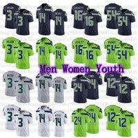 Hombres Mujeres Juvenil Fútbol 3 Russell Wilson 14 DK Metcalf 54 Bobby Wagner 24 Marshawn Lynch Lockett Jersey