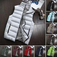 Erkekler Rahat Sonbahar Kış Rahat Malzeme Tasarım Coat Yastıklı Pamuk Yelek Sıcak Fermuar Cep Kalın Yelek Tops M09051