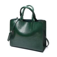 المرأة حقيبة النفط الشمع المرأة حقائب جلدية محفظة فاخر سيدة حقائب اليد جيب النساء رسول حقيبة كبيرة حمل كيس البراغي اللون الأخضر اللون