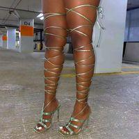 2021 Verão Slim Heel Lace Up Sapatos Femininos Sexy Square Head Sandálias Ankle Lace Up Sandálias de salto alto 35-41