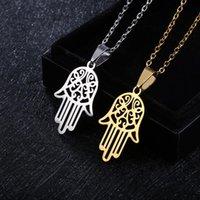 Pendentif Colliers Arabe Soy Hamsa Collier à la main pour femmes / hommes amulets Acier inoxydable de Fatima Couker Arabe Bijoux Bijoux