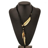 Mode Böhmische Art Schwarz Seilkette Feder Muster Anhänger Halskette Für Frauen Ethnische Kristallblatt Anweisung Halskette1