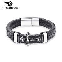 Firebros argent couleur boucle magnétique boucle en acier inoxydable breloque bracelet en cuir véritable bracelet Hommes Vintage Rock bijoux cadeau