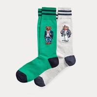 Polo Bear Çorap 2-paketi Moda Karikatür Sevimli Çorap Harajuku Kadınlar Streç Pamuk Çorap Ile Web Ayak Bileği Çorap Hipster Skatebord Ayak Bileği Komik Çorap