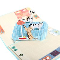 DIY Greeting Cards Handmade Birthday Wedding Invitation 3D Up Card Cat Fish Card Thanksgiving Blessing