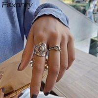 Кластерные кольца Foxanry 925 Стерлинговый серебристый панк-хип-хоп для женщин Пары Мода Винтаж ручной работы Тайская вечеринка Ювелирные изделия Gifts1