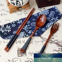 عيدان ملعقة شوكة الخيزران الخشب السكاكين ثلاثة قطعة اليابانية خمر عيدان خشبية ملعقة شوكة المائدة 3 قطع مجموعة هدية جديدة