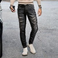 Fashion Men Fashion Holes Skinny Jeans Pencil Pants Solid De...