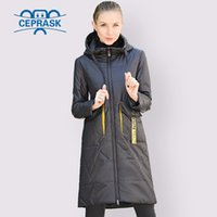 CEPRASK Spring Autumn Jacket Women Hot Sale Thin Cotton Parka Long Plus Size Hood Fashion Contrast Color Coat NEW Cothes 201014