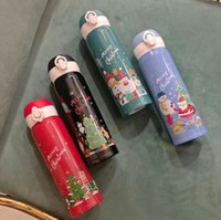 17oz عيد الميلاد الكرتون طباعة زجاجة مياه مزدوجة الجدار عزل الترمس بابا نويل ثلج الشرب الفراغ قوارير DDA646