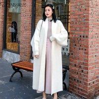 Sonbahar Kış Kadın Yumuşak Kaşmir Vizon Uzun Triko Moda Gevşek Casual Büyük Boy Hırka Kalın Sıcak Yün Örgü Coats 200930