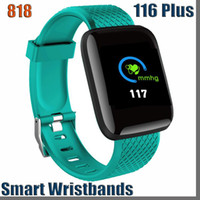 818D 116 플러스 스마트 시계 팔찌 피트니스 트래커 심박수 단계 카운터 활동 모니터 밴드 팔찌 PK ID115 플러스 아이폰 Android 용