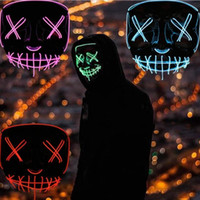 US STOCK Halloween máscara Horror LED Glowing máscaras Máscaras Máscaras Purge Eleição traje DJ Party Light Up fulgor da noite Ciclismo Caps
