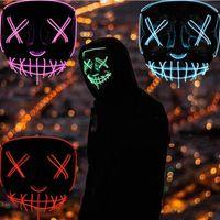ABD STOK Cadılar Bayramı Korku maskesi maskeleri Parlayan LED Tahliye Maskeler Seçim Kostüm DJ Parti Işık Yukarı Maskeler Glow Gece Bisiklet Caps