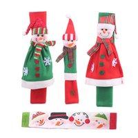 Decoraciones de Navidad Nevera Microondas Horno Lavavajillas las manija del patrón protector de muñeco de nieve para el hogar aparatos de cocina JK2011XB
