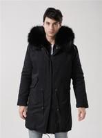 O estilo clássico da marca Meifeng casacos homens inverno neve coelho preto forro de pele pretos longos parkas pele Lavish longa estilo exterior dos homens jaquetas