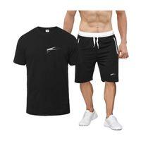 남성 의류 두 조각 세트 남성 반팔 T 셔츠 여름 최고 + 반바지 남성 운동복 니스 조류 캐주얼 스포츠웨어는 짧은 바지 탑