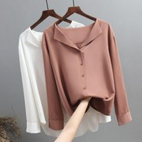 Blusas de mujer Camisas Moda Spring Mujer Casual V Cuello Mangas largas Mangas de gasa Tops de la Oficina de trabajo para mujer 2021 G3