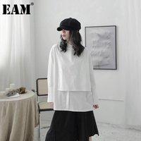 Рубашки женские блузки [EAM] Женщины Белый Нерегулярный Задний Вентилятор Большой Размер Блуза Стенд Воротник Длинный Рукав Свободная Рубашка Мода Весна Осень 20