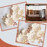 Flores decorativas guirnaldas hechas a mano marfil rosa bricolaje hojas de papel para bebés vivero arte de pared de la pared decoración decoración floral