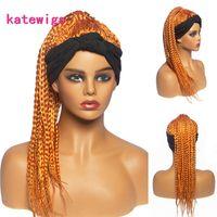 Bandeau Bande Bande tressée Perruques de tête synthétique Golden Wig pour femmes africaines coiffées de turban bouclé
