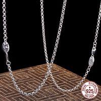 S925 Collier en argent sterling Collier en argent Chaîne de perle personnalisée Bijoux classique longue collier collier Couple Modèles Envoyer le cadeau de l'amant