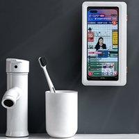 الحمام حامل الهاتف للماء الهاتف مربع الحائط شاشة تعمل باللمس حماية الهاتف مربع كسول لوازم المطبخ الحمام XD24471