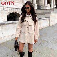 OOTN KHAKI RAIL винтажная куртка женская кнопка с длинным рукавом офис топ женские женские женские куртки пальто уличная одежда верхняя одежда