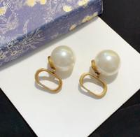 HB0823 tiene pendientes de perlas de aro de moda aro de aro de aro de aro de aro para mujer para mujeres amantes de la boda regalo joyería compromiso con caja