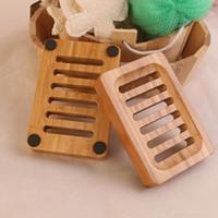 Jabón madera de bambú natural Platos bandeja sostenedor del jabón de almacenamiento en rack Placa envase de la caja de jabón de baño del plato portátil IIA824N Caja de transporte marítimo de
